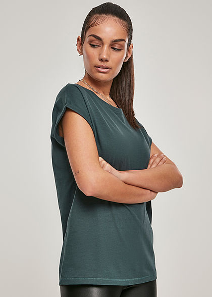 Urban Classics Damen T-Shirt mit breiten Schultern bottle grün