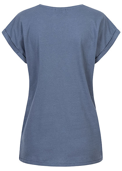 Urban Classics Damen T-Shirt mit breiten Schultern vintage blau