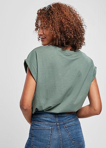 Urban Classics Damen T-Shirt mit breiten Schultern paleleaf grün