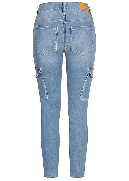 JDY by ONLY Damen Cargo Ankle Skinny Jeans Hose High-Waist 6-Pockets hell blau denim