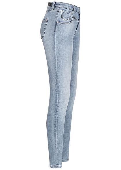 ONLY Damen Ankle Skinny Jeans Hose High-Waist 5-Pockets 2er Knopfleiste hell blau den