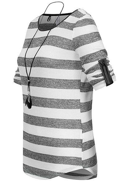 Hailys Damen Turn-up Longsleeve Pullover Streifen Muster off weiss