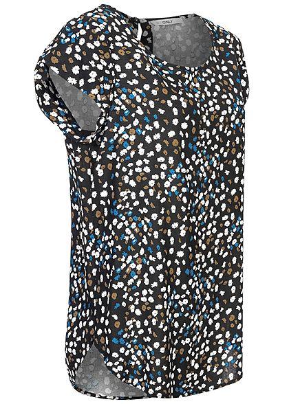 ONLY Damen Blusen Shirt Blumen Muster schwarz weiss blau