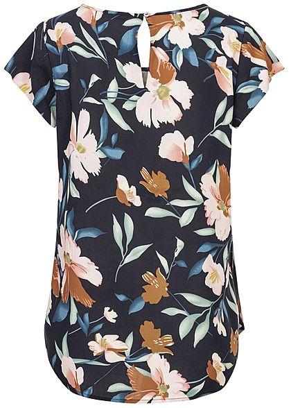 ONLY Damen Blusen Shirt Florales Muster night sky navy blau rosa