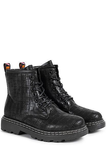 Seventyseven Lifestyle Damen Schuh Kunstleder Worker Boots Schlangenhaut Optik schwarz