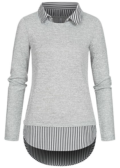 Seventyseven Lifestyle Damen 2in1 Turn-Up Longsleeve Bluse marl hell grau