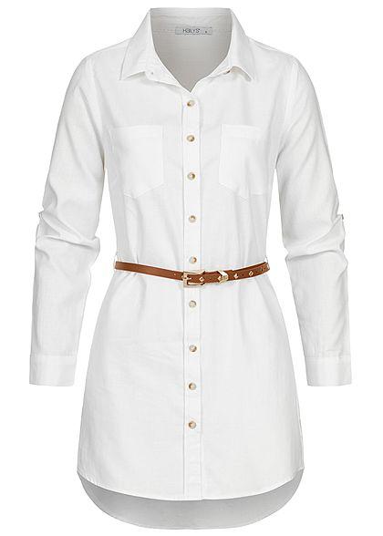 Hailys Damen Turn-Up Longform Bluse Knopfleiste inkl. Kunstledergürtel weiss