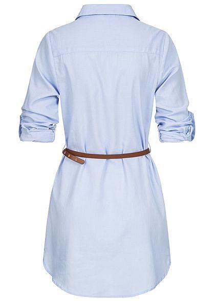 Hailys Damen Turn-Up Longform Bluse Knopfleiste inkl. Kunstledergürtel hell blau