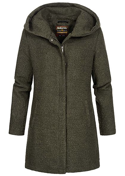 Sublevel Damen Boucle Coatigan Jacke Kapuze 2-Pockets ivy oliv grün melange