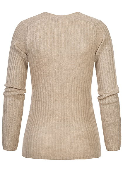 Sublevel Damen Ribbed V-Neck Strickpullover string beige melange