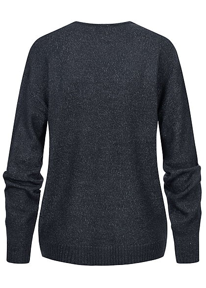 Sublevel Damen V-Neck Strickpullover mit Rippblenden night navy blau melange