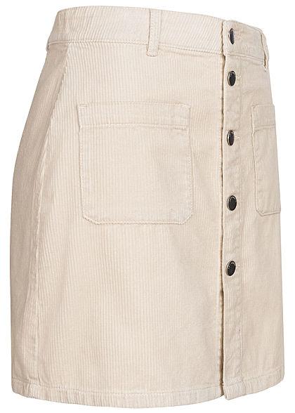 JDY by ONLY Damen Mini Cord Rock mit Knopfleiste 2-Pockets silver birch hell beige