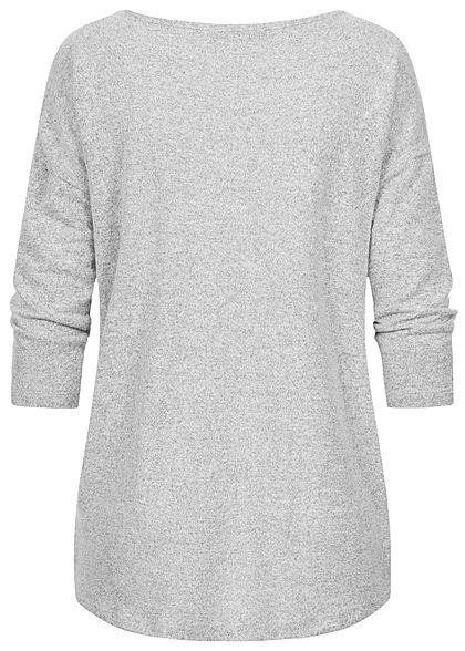 Fresh Made Damen 3/4 Arm Longform Shirt Longsleeve Vokuhila hell grau melange