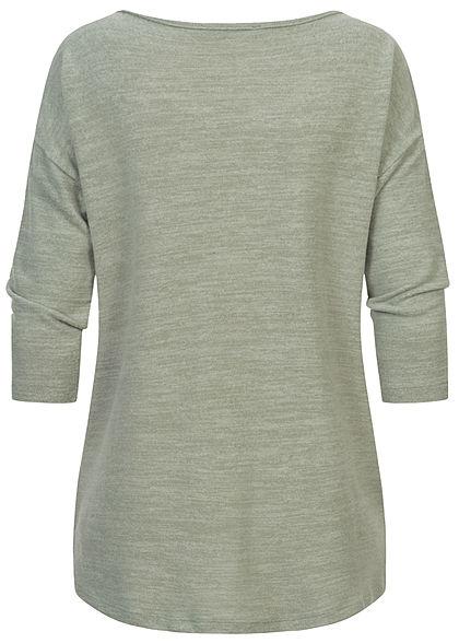 Fresh Made Damen 3/4 Arm Longform Shirt Longsleeve Vokuhila vintage grün melange