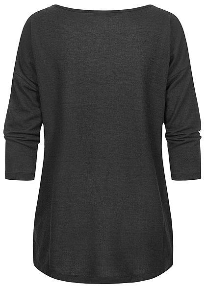 Fresh Made Damen 3/4 Arm Longform Shirt Longsleeve Vokuhila schwarz