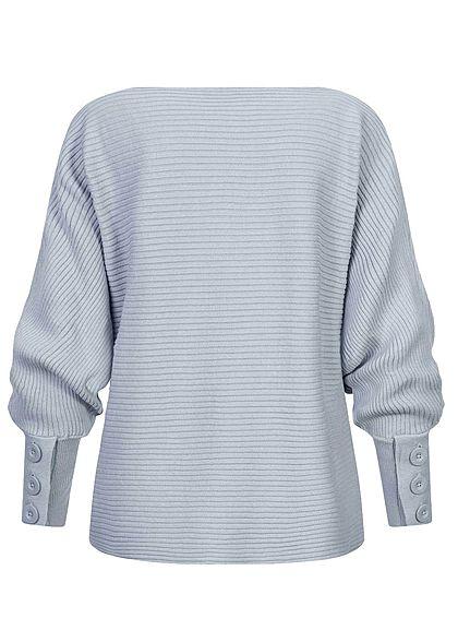 Sublevel Damen Ribbed Fledermausarm Pullover mit Knöpfen am Ärmel jeans blau
