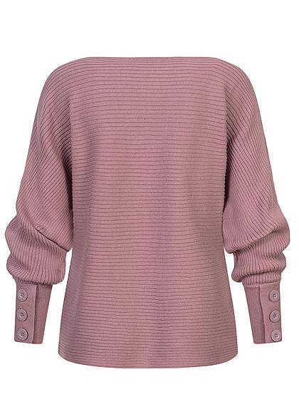 Sublevel Damen Ribbed Fledermausarm Pullover mit Knöpfen am Ärmel berry lila