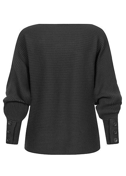 Sublevel Damen Ribbed Fledermausarm Pullover mit Knöpfen am Ärmel schwarz