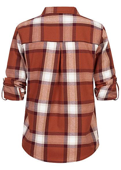 Sublevel Damen Turn-Up Karo Bluse mit Brusttasche Regular Fit Knopfleiste rusty orange