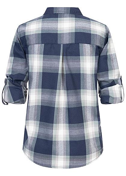 Sublevel Damen Turn-Up Karo Bluse mit Brusttasche Regular Fit Knopfleiste dark navy blau