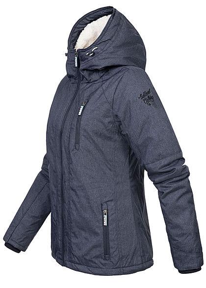 Sublevel Damen Winterjacke mit Teddyfell Kapuze 3-Pockets hoher Verschluss navy blau mel