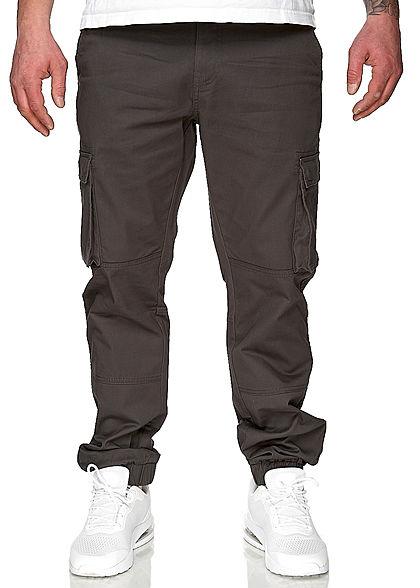 ONLY & SONS Herren Cargohose 6-Pockets Bündchen am Beinabschluss dunkel grau