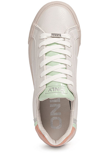 ONLY Damen Schuh Kunstleder Plateau Sneaker grau multicolor glitzer