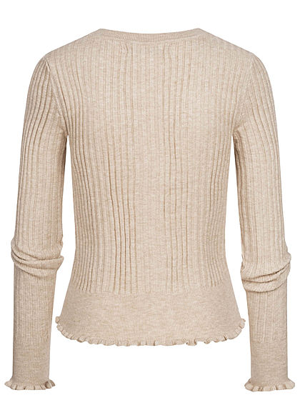 ONLY Damen Ribbed Frill Cardigan pumice stone beige
