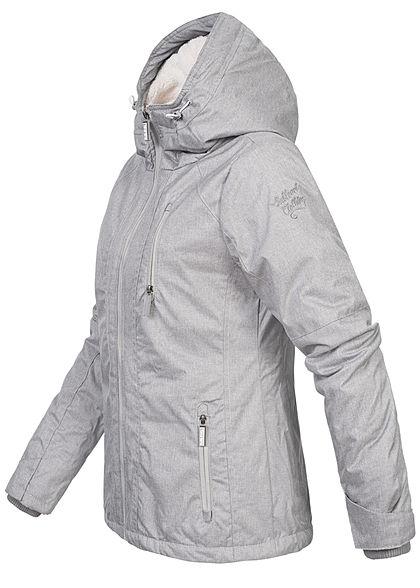 Sublevel Damen Winterjacke mit Teddyfell Kapuze 3-Pockets hoher Verschluss pencil grau