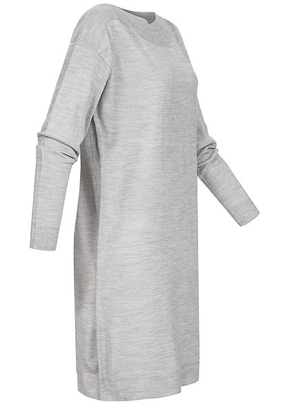 ONLY Damen Langarm Strickkleid hell grau melange