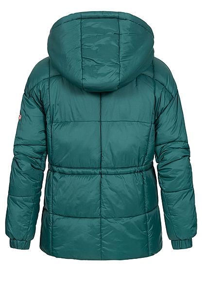 Stitch and Soul Damen Winter Steppjacke Taillenzug Kapuze 2-Pockets seam moss grün
