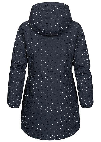 Eight2Nine Damen Winter Parka Jacke mit Kapuze Taillenzug Sterne Muster midnight blau