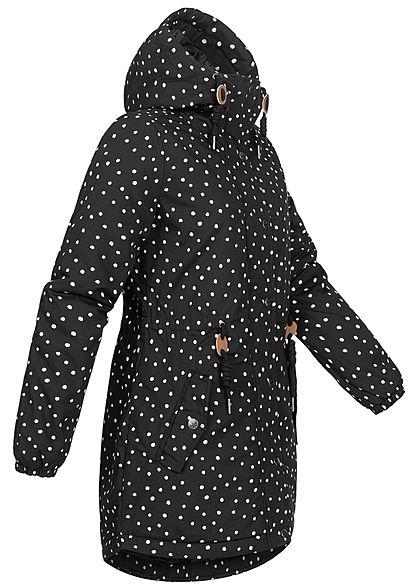 Eight2Nine Damen Winter Parka Jacke mit Kapuze Taillenzug Punkte Muster schwarz weiss