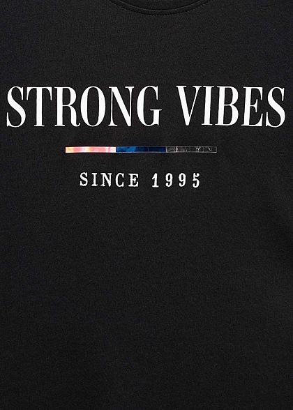 ONLY Damen Statement T-Shirt Strong Vibes schwarz weiss