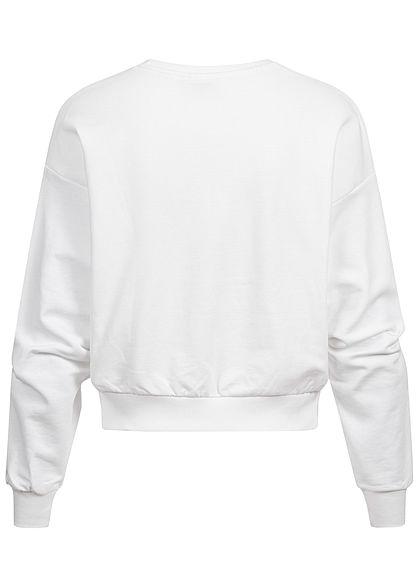 ONLY Damen kurzer Sweater Pullover mit Love Print & Herz Softpatch bright weiss rot