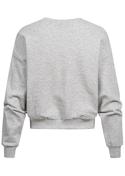 ONLY Damen kurzer Sweater Pullover mit Love Print & Softpatch hell grau melange