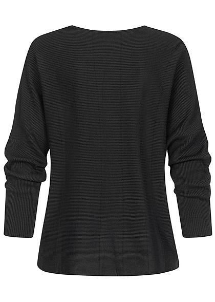 Tom Tailor Damen Ribbed Fledermausarm Pullover tief schwarz