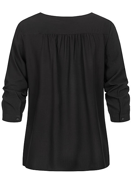 Tom Tailor Damen 3/4 Arm V-Neck Viskose Bluse mit Knopfleiste Vokuhila schwarz