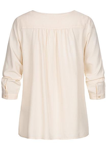 Tom Tailor Damen 3/4 Arm V-Neck Viskose Bluse mit Knopfleiste Vokuhila beige