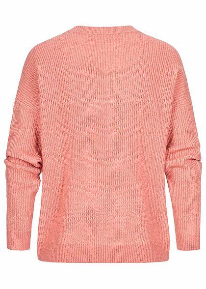 Tom Tailor Damen Sweater Strickpullover in Melange Optik cozy rosa melange