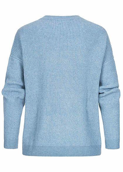 Tom Tailor Damen Sweater Strickpullover in Melange Optik soft mid blau melange