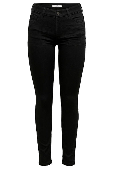 JDY by ONLY Damen NOOS Skinny Fit Jeans Hose Regular Waist 5-Pockets schwarz denim