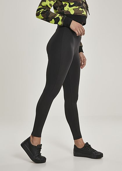 Urban Classics Damen High-Waist Leggings breiter Gummibund schwarz
