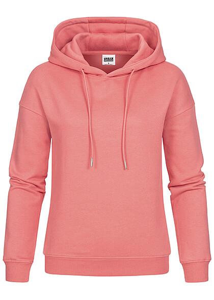 Urban Classics Damen Basic Hoodie mit Kapuze pale peach pink