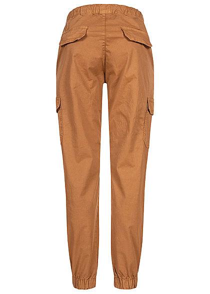 Urban Classics Damen High-Waist Cargo Stoffhose 6-Pockets toffee braun