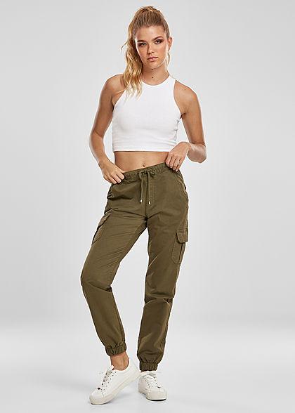 Urban Classics Damen High-Waist Cargo Stoffhose 6-Pockets sommer oliv grün