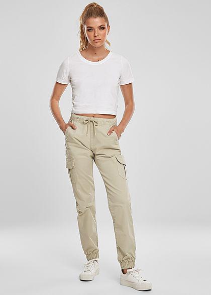 Urban Classics Damen High-Waist Cargo Stoffhose 6-Pockets concrete beige
