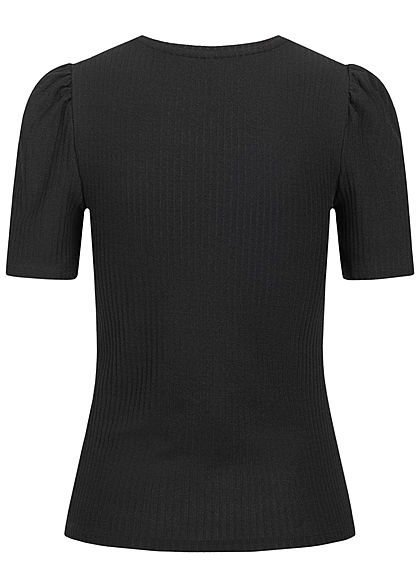 ONLY Damen Ribbed Puffer T-Shirt schwarz