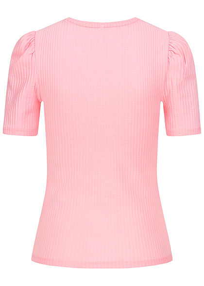 ONLY Damen Ribbed Puffer T-Shirt cloud orchid pink