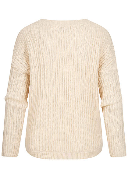 ONLY Damen NOOS Struktur Strickpullover Sweater lockere Passform whitecap gray beige